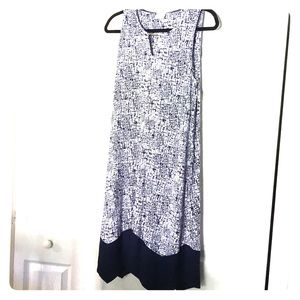Soft Sleeveless Short Swing Dress White & Navy